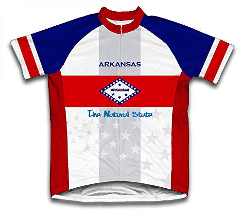 (ScudoPro Arkansas Flag Short Sleeve Cycling Jersey for Men - Size L Blue)