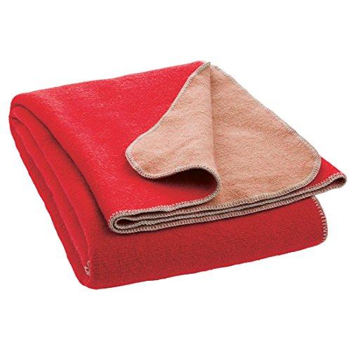 (Disana Double Face Throw Blanket 100% Organic Merino Wool (55 X 80 inch) (Red/Rose))