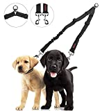 Double Dog Leash - Dog Leash Coupler, PowPetie No Tangle Dual Double Dog Leash Splitter Adjustable Length Lead Leash for Two Dogs Walker and Trainer