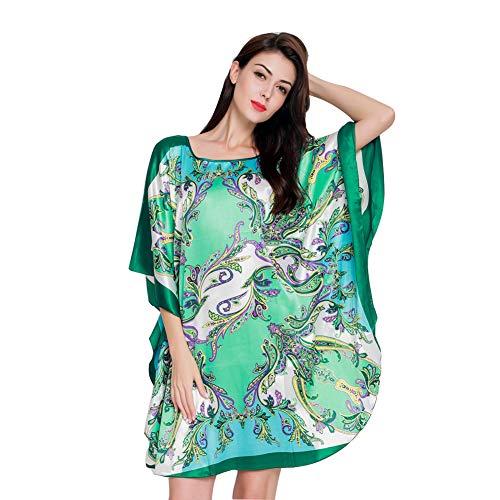 (SexyTown Women's Soft Satin Pajamas Printed Sleepwear Dress Batwing Sleeve Nightgown Style2-Pattern B)