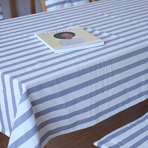 Striped Cotton Tablecloth (Cotton Table Cover,Blue and White Strips Tablecloths, Rectangle & Oblong Blue Table Top Decoration(Blue,39.3x55In))