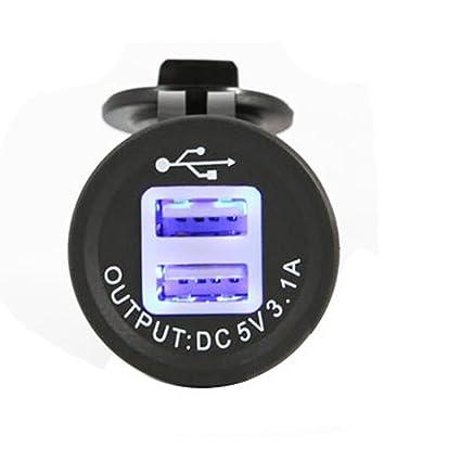 meipire 2 Port USB Enchufe empotrable Auto Barco RV moto USB Conector 5 V 3.1 A Cargador Adaptador 12 V/24 V kfzs para Navi, Teléfono móvil, GPS con ...