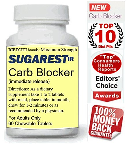 SUGAREST-ir Top Carb Blocker Weight Loss Diet Pills Max Strength Lose Weight Chewable Supplement USA for Women & Men 60 ct by DIETCITI