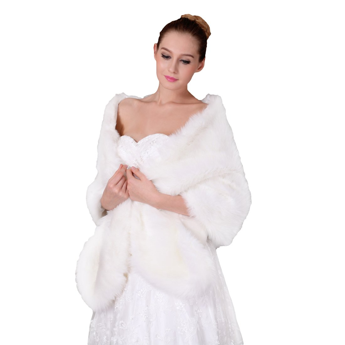 Funtrees Women Long Rectangular Faux Fur Shawl Wrap Stole Cape
