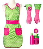 Vigar Flower Power Dishwashing Set with Apron, Includes Waterproof Machine Washable Apron, Latex Gloves, and Multi-Purpose Sink Caddy with Dish Brush, Sponge and Soap Dispenser, Pink and Green