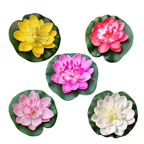 Amosfun Artificial Floating Lotus Flowers Lily Pool Aquarium and Wedding Decoration (White + Red + Yellow + Pink + Light Pink) 5PCS 10CM