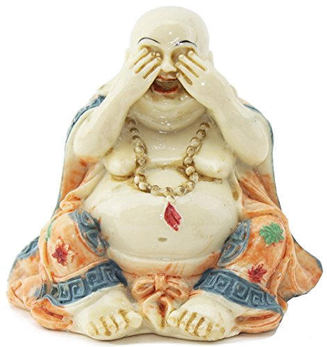 Feng Shui See No Evil Happy Face Laughing Buddha Figurine Home Decor Statue Gift / Birthday Gift / house warming gift We Pay Your Sales Tax.