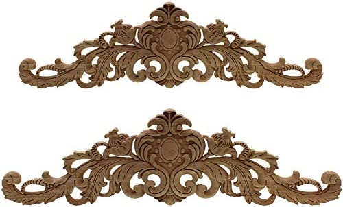SODIAL Carving Natural Wood Appliques for Furniture Cabinet Unpainted Wooden Mouldings Decal Vintage Home Decor Decorative 40x11x2Cm