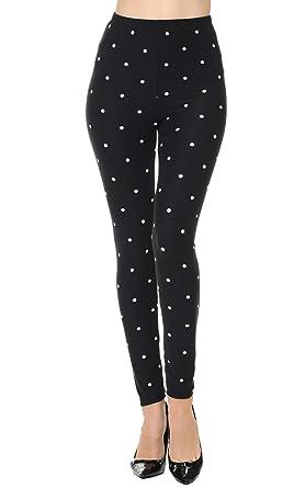0c4251c0e9ef1 VIV Collection Regular Size Printed Brushed Leggings (Snowdots): Amazon.co.uk:  Clothing
