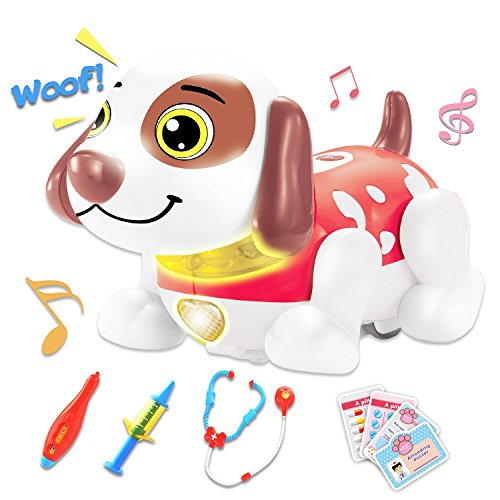 Pet Veterinarian Toys Doctor Kit for Kids for 2,3,4 Years Old Boys and Girls Birthday Gift Interactive Electronic Robot Dog Responds to Touch with Dance, Music & Barking (Red)
