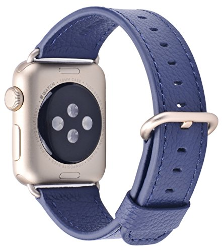 (Compatible iWatch Band 38mm 40mm - PEAK ZHANG Women Midnight Blue Genuine Leather Replacement Strap with Gold Metal Clasp Compatible Series 4 (40mm) Series 3 2 1 (38mm) Sport and Edition)