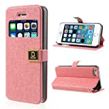 JUJEO Pink DR Chen Oracle Grain Stand Leather Case for iPhone 5 5s with Window View - Retail Packaging - Pink