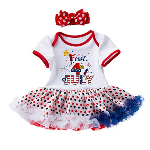 - perfectCOCO 4th of July Baby Dress Toddler Girl American Flag Romper Tutu Dress Clothes Outfits Party Custome White