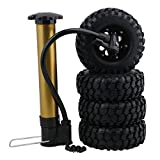 "BQLZR Black 1.9"" 108mm Gravel Pattern Inflatable Rubber Tires& 8 Hole Plastic Wheel Rim W/ Black Beadlock Rings for RC1:10 Crawler Car Pack of 4"