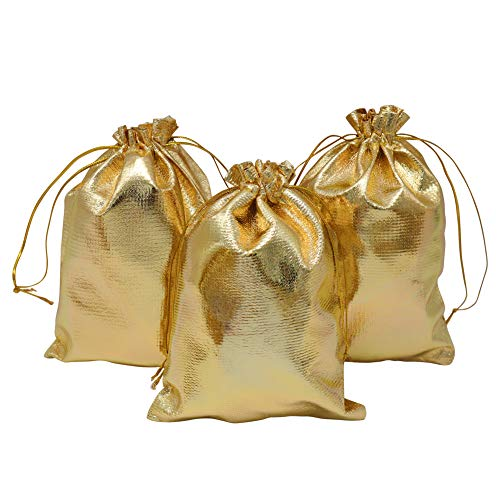 HRX Package Gold Gift Bags Drawstring 100pcs, 5