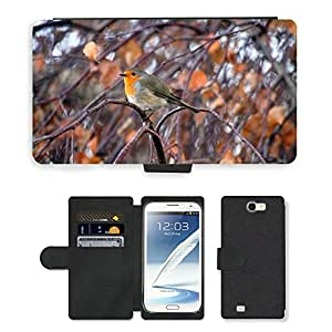 Hot Style Cell Phone Card Slot PU Leather Wallet Case // M00108988 Robin Animals Nature Bird // Samsung Galaxy Note 2 II N7100