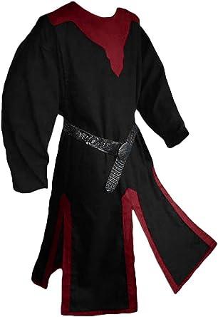 Amazon Com Gafeng Mens Medieval Knight Costume Halloween Warrior Cloak Robe Retro Renaissance Army Crusader Cosplay Clothing