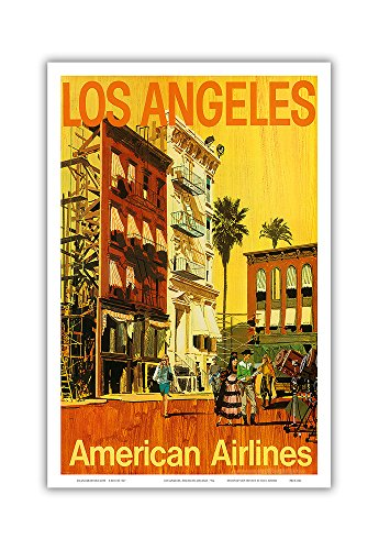 Vintage American Airlines (Los Angeles - American Airlines - Hollywood California Movie Set - Vintage Airline Travel Poster by V.K c.1960s - Master Art Print - 12in x)