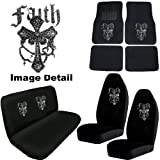 Faith Cross Gem Crystal Studded Rhinestone Bling Car Truck SUV Floor Mats Bucket & Bench Seat Covers - Combo Kit Gift Set - 8PC