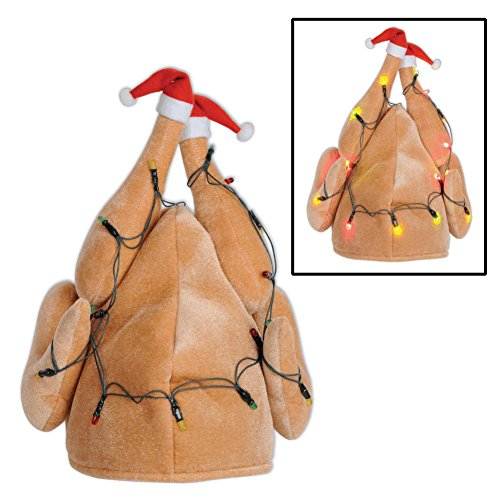 Beistle 1-Pack Plush Light-Up Christmas Turkey Hat (20742)