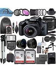 Canon EOS 4000D / Rebel T100 DSLR Camera 18MP Sensor + EF-S 18-55mm Lens + 2 Pack SanDisk 32GB Memory Card + Backpack + A-Cell Accessory Bundle (Black) photo