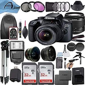 Canon EOS 4000D / Rebel T100 DSLR Camera 18MP Sensor, EF-S 18-55mm Lens, 2 Pack SanDisk 32GB Memory Card, Backpack, Full…