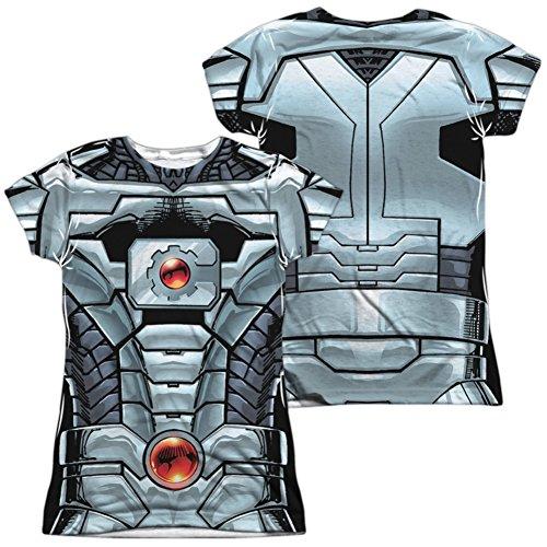 Martian Manhunter New 52 Costume (Juniors: Cyborg- New 52 Costume Tee (Front/Back) Juniors (Slim) T-Shirt Size L)