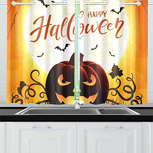 ENEVOTX Halloween Pumpkin Text Happy Halloween Kitchen Curtains Window Curtain Tiers for Café, Bath, Laundry, Living Room Bedroom 26 X 39 Inch 2 Pieces ()