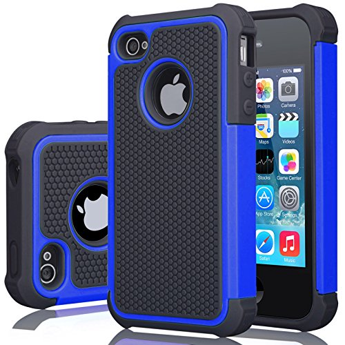 iPhone 4S Case, iPhone 4 Cover, Jeylly Shock Absorbing Hard Plastic Outer + Rubber Silicone Inner Scratch Defender Bumper Rugged Hard Case Cover Apple iPhone 4/4S - Blue