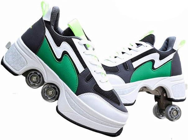 JFZS Kick Roller Zapatos con Ruedas Zapatillas con Ruedas Zapatos para Principiantes Unisex Regalo,Green-EU43/UK9: Amazon.es: Hogar