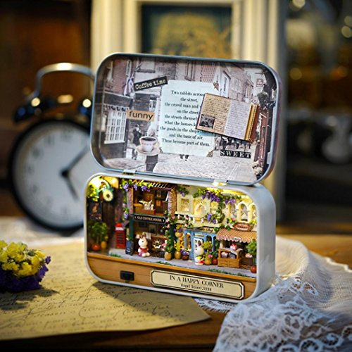 Box Theatre Trilogy, Lotus.flower DIY Hand Assembled Dollhouse Handcraft Miniature Box 3D Puzzle Creative Gift Collection Educational Toy (In A Happy Corner)