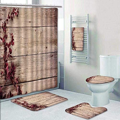 Philip-home 5 Piece Banded Shower Curtain Set Barberry Branch on a Wooden Prints Decorate The Bath,1-Shower Curtain,3-Mats,1-Bath Towel