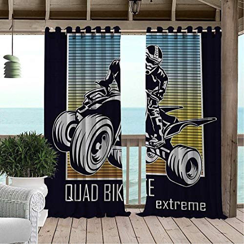 Outdoor Waterproof Curtain Dirt Bike Quad Bike Extreme Lettering Silhouette Racer on Gradient Colored Background Multicolor pergola Grommets Cabana Curtain 108 by 108 inch