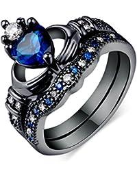 Womens Stackable Ring Set Blue Sapphire Heart Shape Black Gold CZ Wedding Engagement Band