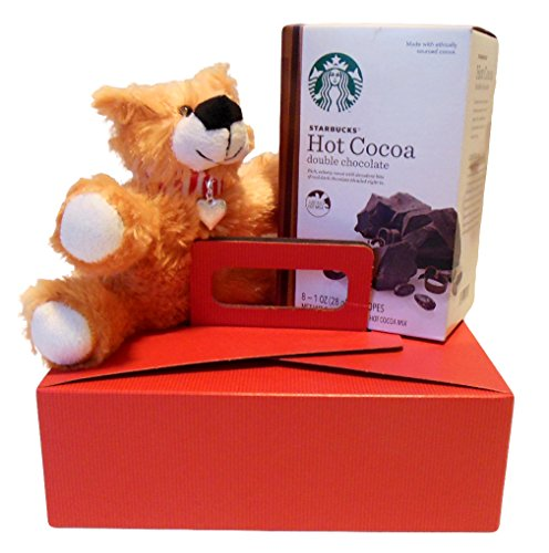 Gift Set Starbucks Double Chocolate Hot Cocoa with Teddy Bear and Heart Charm