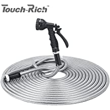 50' 304 Stainless Steel Garden Hose, Lightweight Metal Hose with Free Nozzle, Guaranteed Flexible and Kink Free