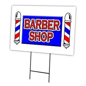"""Barber Shop 18""""x24 Yard Sign cartucho Juego al aire libre plástico Coroplast ventana"""