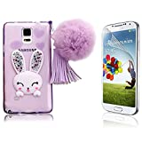 Samsung Galaxy Note 4 Case Cover, Bonice Cartoon Rabbit Bling Diamond Crystal Soft TPU Cute Ear Stand Silicone Case with Hairball Pompon Wristlet + HD Screen Protector, Purple