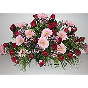 Pure Country Cemetery Grave Tombstone Saddle Headstone Silk Flower Arrangements 53