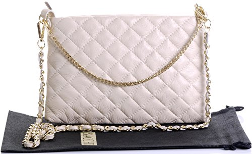 Primo Sacchi Italian Cream Leather Stylish Slim 2 Strap Quilted Shoulder Bag (Leather Italian White Made)