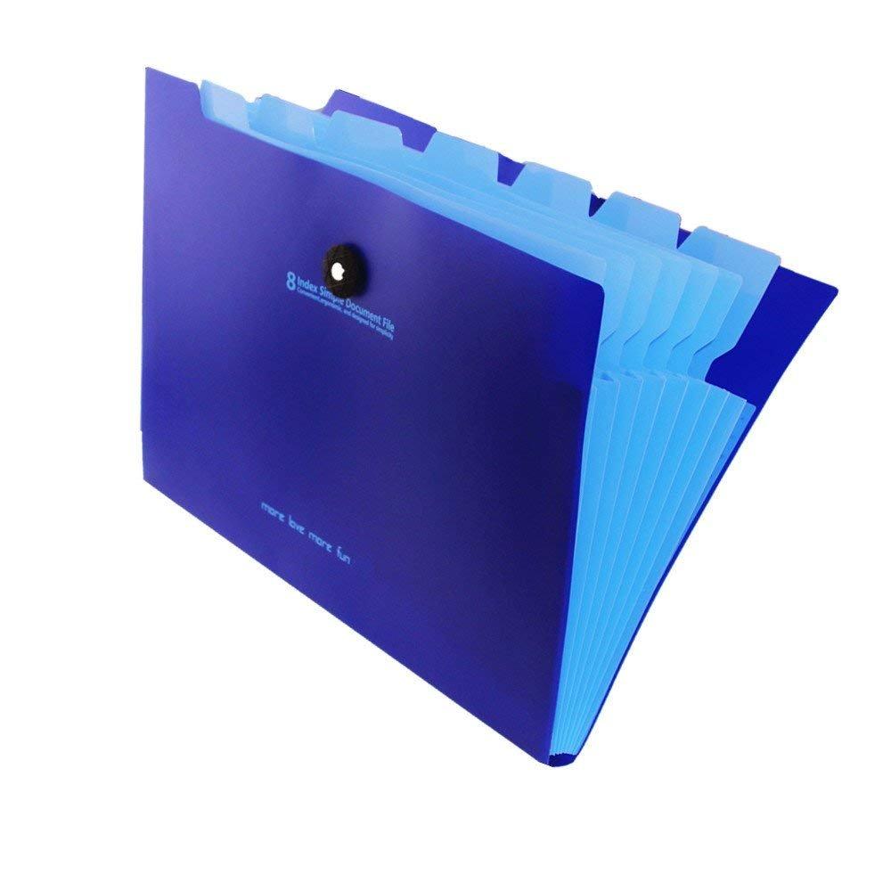 Cartellina portadocumenti espandibile, con 8 tasche a soffietto, formato A4, per lettere e archivio documenti, impermeabile, chiusura con cordino elastico; colore: blu e azzurro Black&green LeiTop