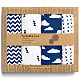 BaeBae Goods Muslin Swaddle Blanket, Navy/White Clouds, Adjustable Infant Baby Wrap Set of 4, Baby Swaddling Wrap Blankets Made in Soft Cotton