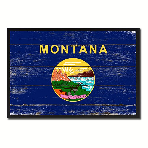 - Montana State Flag Vintage Canvas Print with Black Picture Frame Gift Ideas Home Decor Wall Art Decoration, 13