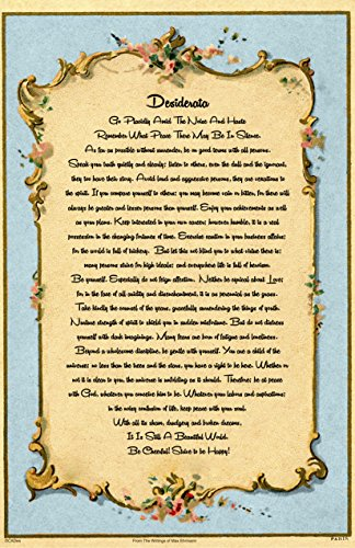 (Typography Art, Desiderata Poster, Poem Max Ehrmann, Antique Postcard from Paris, 11 x 17)