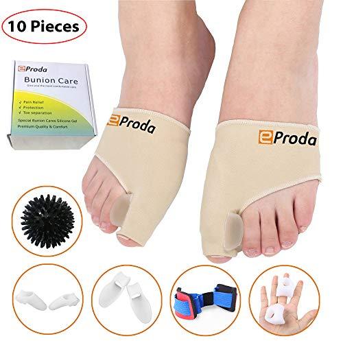 eProda Bunion Corrector - Orthopedic Foot Pain Relief Sleeves Kit with Massage Ball Bunion Splint & 3 Pairs Toe Separators Spacers for Men & Women - Stop Plantar Fasciitis Hammer Toes Hallux Valgus
