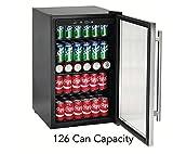 Tramontina 126-Can Capacity Stainless Steel Trim Wine Soda Beverage Center Glass Door Refrigerator