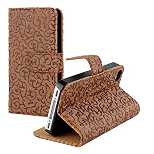 iPhone 5S Case,JATXE Palace-style leather wallet flip case for iPhone 55S credit card slots - Dark Brown
