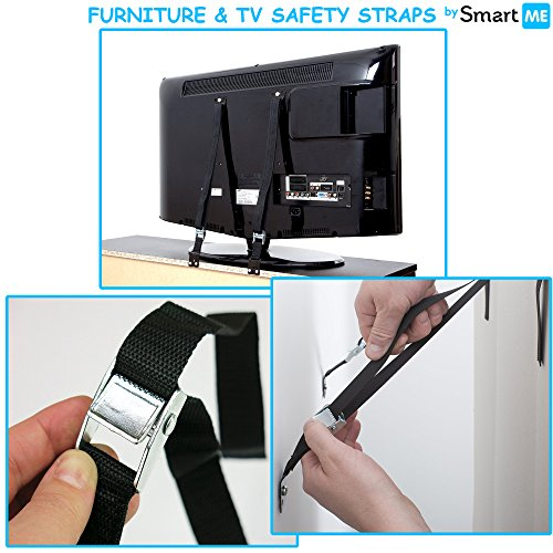 Baby Safety TV & Furniture Anti-Tip Metal Straps Kit, Child Proofing Wall Anchor for Flat Screen TV, Dresser, Cabinets & Bookcase, Adjustable Earthquake Strap Anchors + Mounting Hardware, 2 Pack Set