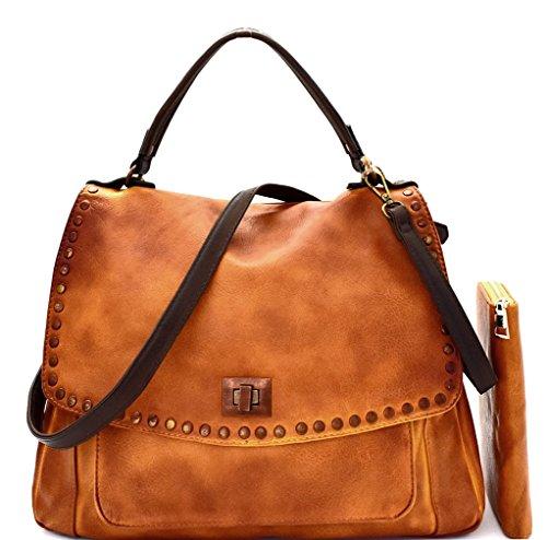 Le Miel Studded, Top Handle Saddle Crossbody Bag + Wallet (Mustard)