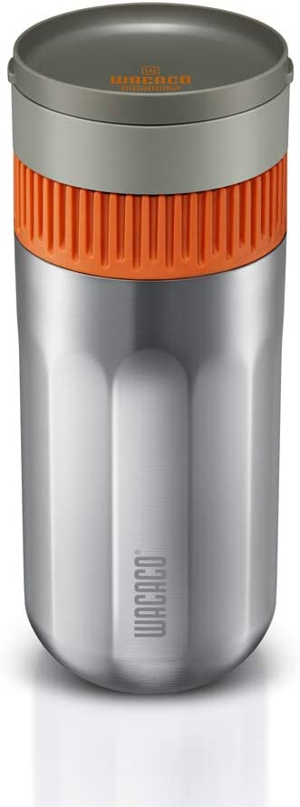 Wacaco Pipamoka Portable Coffee Maker, Single Serve Coffee brewer, All-in-one Vacuum Pressured,Insulated Travel Mug, Hand Powered and Filter Pressure Brewer, Quick Extraction, Stainless Steel Thermo Cup, 10 fl oz